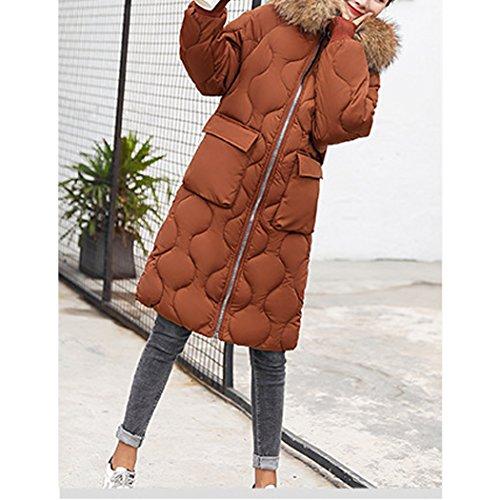 en Longue Manteau Capuche de Caramel Grande Fourrure Coton Coton Duvet Hiver de Doudoune Femme Chaud HANMAX avec Taille 1nqHUPX