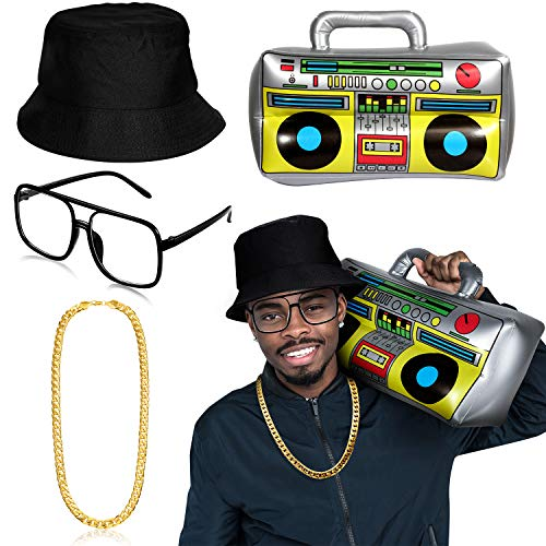 Hip Hop Rapper Costume Kit, Includes Inflatable Boom Box, Black Bucket Hat, Faux Gold Chain, Rapper Sunglasses for 80s/ 90s Costume Accessories -