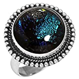 Dichroic Glass Gemstone Stylish Jewelry Solid 925 Sterling Silver Ring Size 6