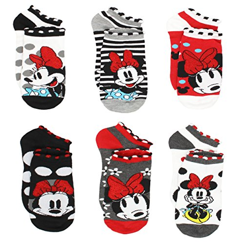 (Disney Minnie Mouse Womens Teen Adult 6 pack Socks (9-11 Womens (Shoe: 4-10), Classic)