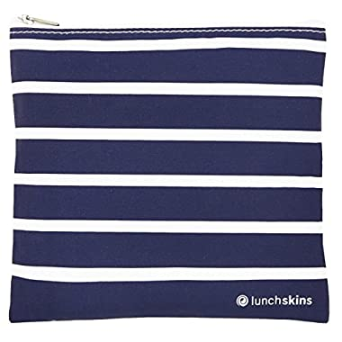 Lunchskins Zippered Bag, Medium, Navy Stripe