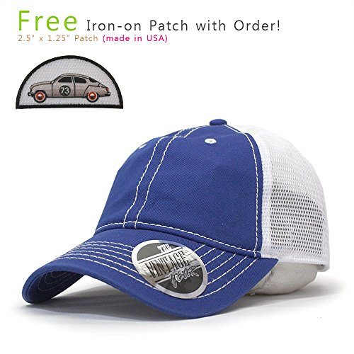 Cap Adjustable Mesh Trucker (Vintage Year Washed Cotton Low Profile Mesh Adjustable Trucker Baseball Cap (Royal/Royal/White))