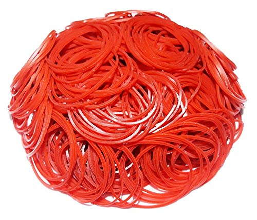 500Pcs 1.8 Medium Size Rubber Bands Bulk Elastic Wide Money Red Rubber Bands Ring Stationery Holder Sturdy Strong Stretchable Band Loop School Home Bank Office Supplies (Red)