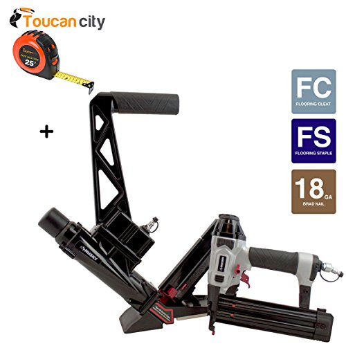 Husky Pneumatic Solid Hardwood Flooring Nailer with 18-Gauge Brad Nailer Combo Kit (2-Piece) HDUFLBR50 and Toucan City Tape Measure
