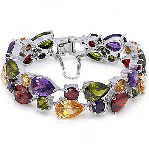 Ladies Bracelets Vintage Style Dual Layer Tear Drop Multicolor Amethyst Garnet Birthstone Bracelet 8 Inch