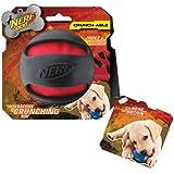 ❂ Nerf Dog Crunch and Squeak Rubber Ball Dog Toy, Medium/Large, Black ❂