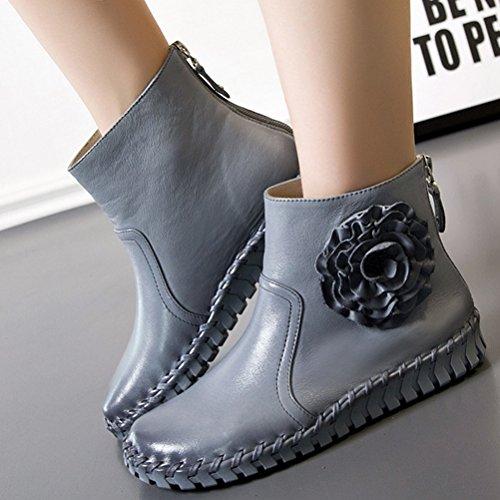 MatchLife Damen Vintage Frühling Sommer Leder Flach Ankle Boots Style2 Grau