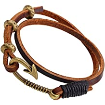 PopJ Multi-strand Fish Hook Rope Bracelet Charm Handmade Brown Leather Bangle