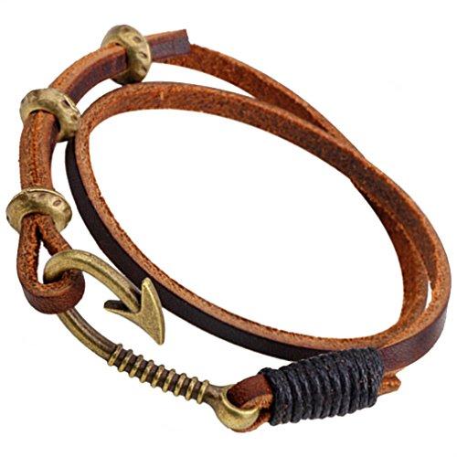 PopJ Multi-strand Fish Hook Rope Bracelet Charm Handmade Brown Leather Bangle - Man Bracelet Fish Hook
