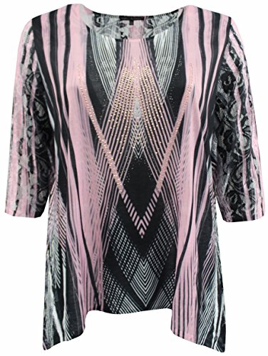 BNY Womens Plus Size Rhinestones Asymmetrical Top Knit T-Shirt Blouse Tee 1X-3X