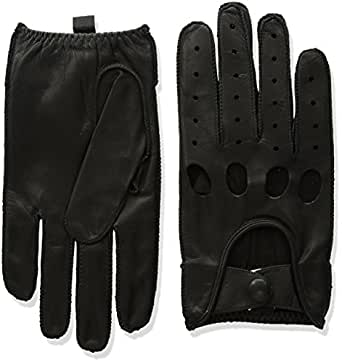 Isotoner Men's Smooth Leather Driving Glove With Covered Snap,Black,Medium