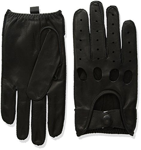 - Isotoner Men's Smooth Leather Driving Glove With Covered Snap,Black,Large