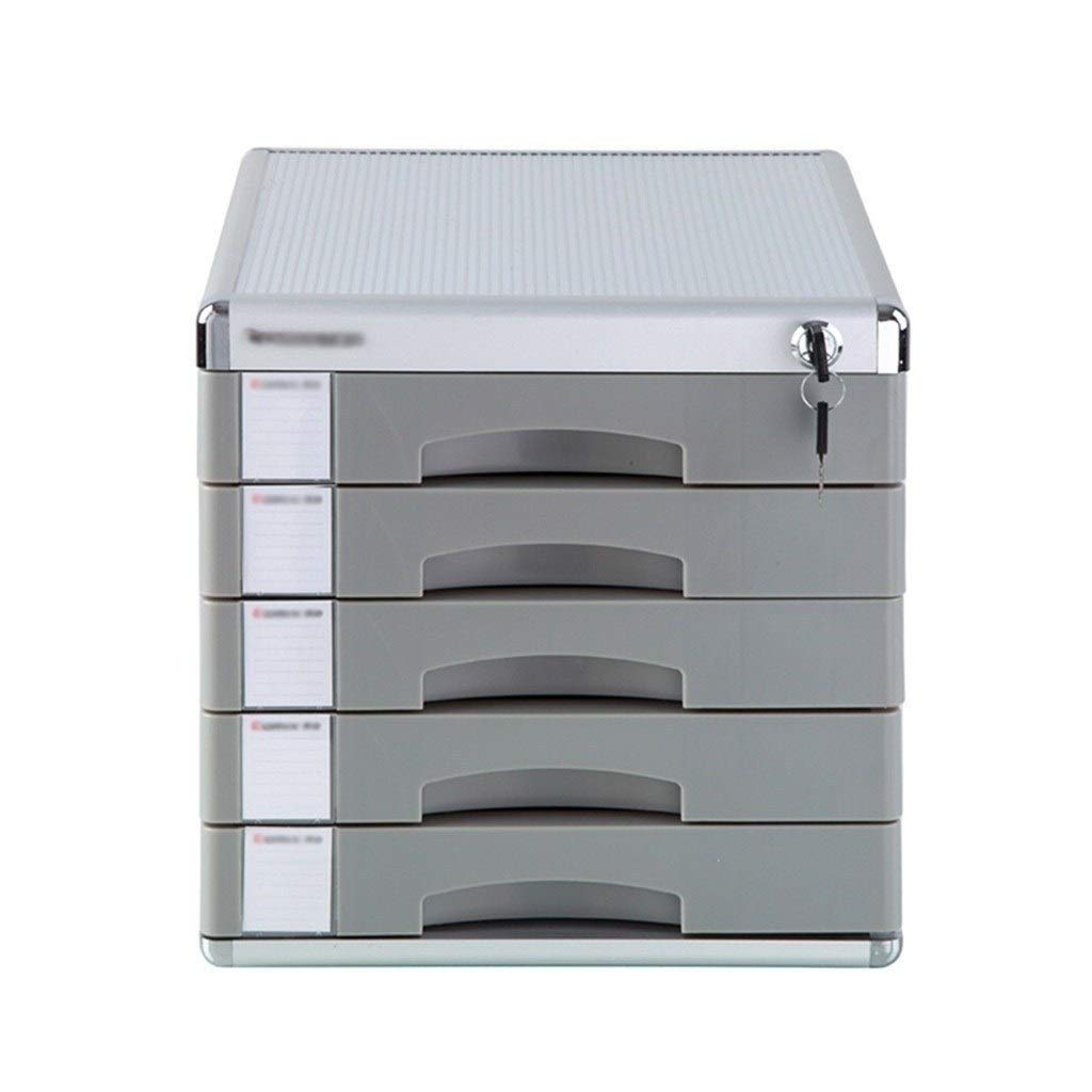 Flat File Cabinet, 5-Layers Lockable Drawer Organizer with Blank Label Aluminum Alloy - Grey by Bxwjg