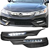 Lights Fits 2016-2017 Honda Accord |Sedan OE Style LED Fog Light Lamp Kit w/ Switch & Relay Pairs by IKON MOTORSPORTS