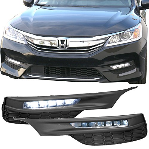 Lights Fits 2016-2017 Honda Accord |Sedan OE Style LED Fog Light Lamp Kit w/Switch & Relay Pairs by IKON MOTORSPORTS