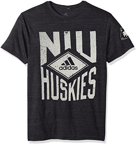 adidas NCAA Northern Illinois Huskies Adult Men Diamond Mine Tri-Blend S/Tee, Medium, Black Heathered