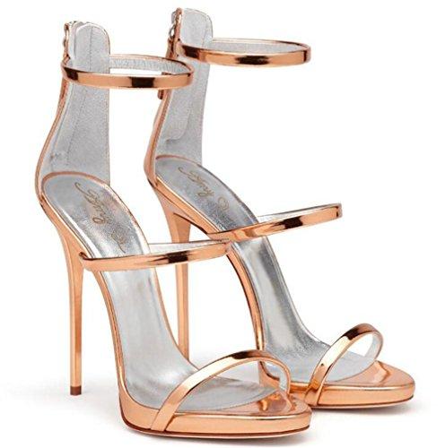 Rome club femmes EU37 GOLD Des Taille xie 35 aiguille 44 Cuir Talon Cheville sandales Les Chaussures Robe Fête bretelles à pour E4q470