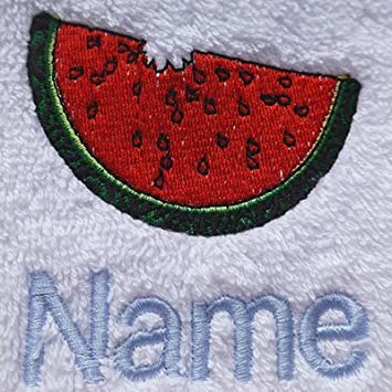 EFY Face Cloth, Hand Towel, Bath Towel or Bath Sheet Personalised with WATERMELON logo and name of your choice (Face Cloth 30x30cm)