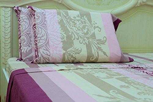Goza Cotton 190 Gram Heavyweight Flannel Sheet Set (Queen, Damask) - Heavyweight Flannel