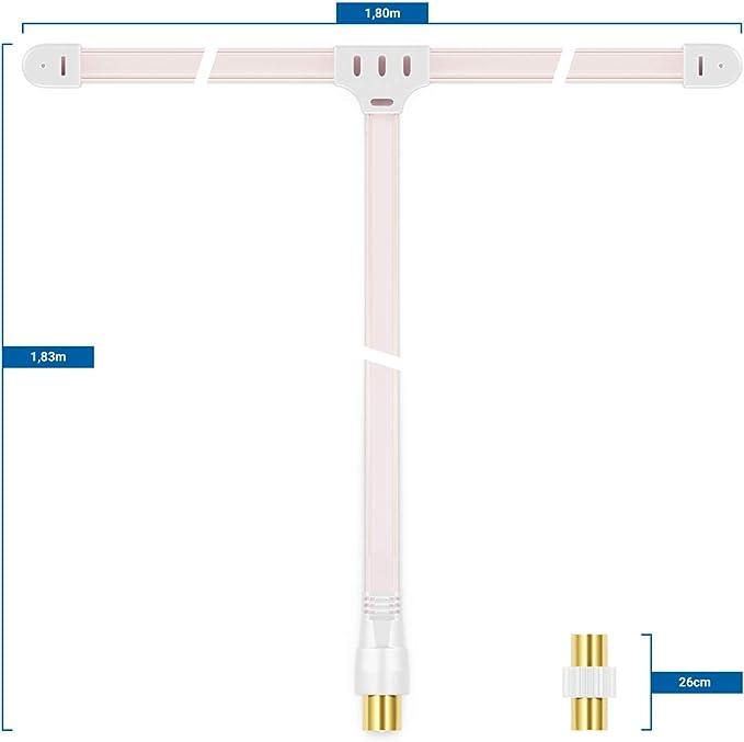 deleyCON FM Am Antena de Radio FM Antena Dipolo Antena Interior Conector Coaxial de 75 Ohmios Receptor de Alta Fidelidad Sistema Estéreo Sintonizador ...