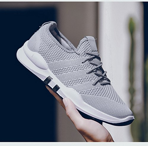 Evedaily Homme Chaussure Maille Respirante Casual Sneakers Été Mode Chaussure de Course Running Gym Shoes Gris s3CNfl