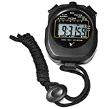 RUNACC Digital Sports Stopwatch Handheld Running Timer Sports Chronograph Counter with Large Numeral Display, Black