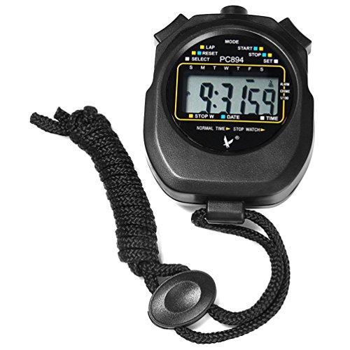 RUNACC Digital Sports Chronomètre à main de poche minuterie multi-fonctionnel Sports Chronographe avec grand affichage numérique, noir