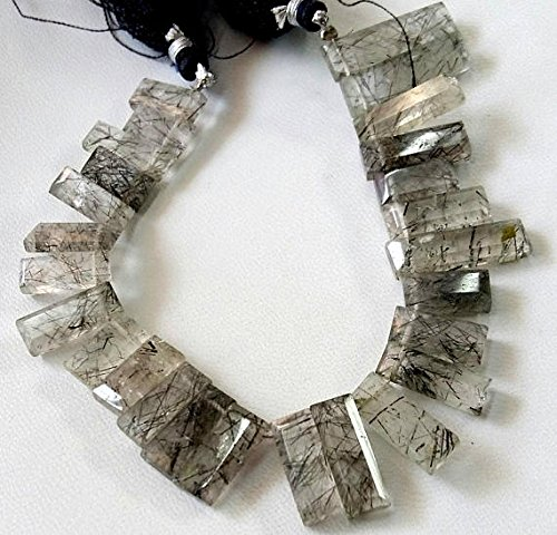 Natural BLACK RUTILATED Quartz faceted rectangle shaped gemstone,size- 6x10 mm - 6x24 mm,6.5 inch strand
