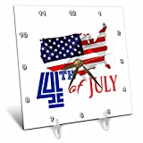 3dRose Alexis Design - America - America Independence Day 4th of July. Map, flag, text on white - 6x6 Desk Clock (dc_281214_1)