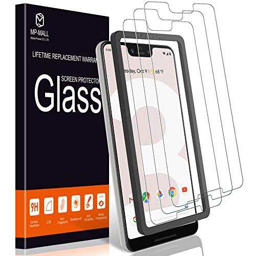 MP-MALL [3-Pack] Screen Protector for Google Pixel 3 XL, [Case Friendly] Tempered Glass [Alignment Frame Easy Installation] with Lifetime Replacement Warranty