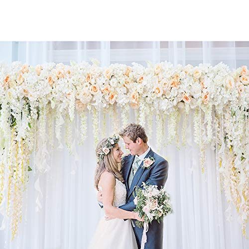 Riyidecor Bridal Floral Wall Backdrop White Yarn Photography Background Fresh Orange and White 7Wx5H Feet Decoration Wedding Celebration Props Party Photo Shoot Backdrop Vinyl Cloth