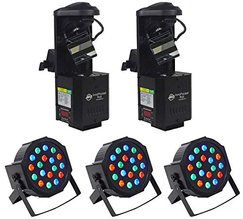 (2) American DJ ADJ Inno Pocket Roll DMX LED Scanner Lights+(3) RGB Par - Dmx Scanner Professional