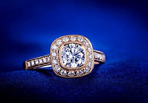Gowe véritable 0.8CT Centre Diamant 0,44CT côté de fiançailles avec diamant Bague femme Or rose 18K