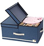 JJ POWER Collapsible Clothes Storage Box, Under Bed Organizer Drawer (Navy Dot)