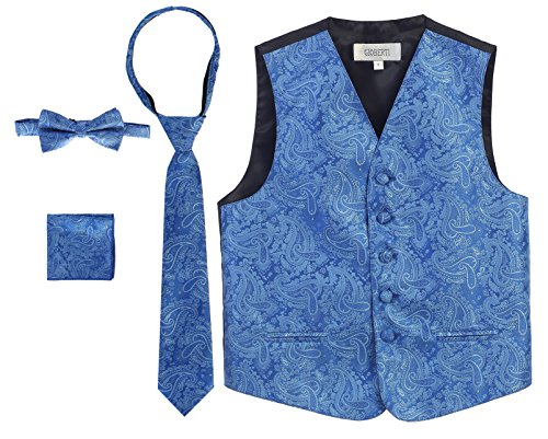 - Gioberti Boy's 4 Piece Formal Paisley Vest Set, Royal Blue, Size 16