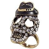 Mad Hatter Leprechaun Skull Rhinestone Ring by UFindings