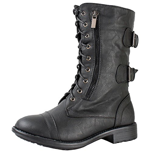Top Moda Women's Pack-72 Lace Up Combat Boot,Pack-72v5.0 Black 6