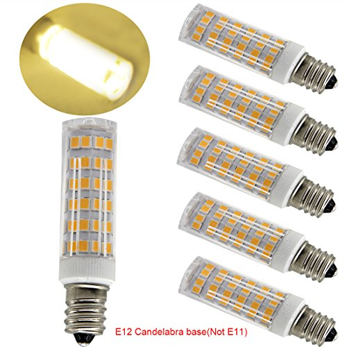 Xenon White Halogen Bulbs (Ulight Led E12 led light bulb 120V, Warm White 6W Led E12 Candelabra Screw base, Xenon JD type led halogen bulb replacement 50W or 60W ceiling fan light bulbs with 550lm-5packs (Warm White 3000K))
