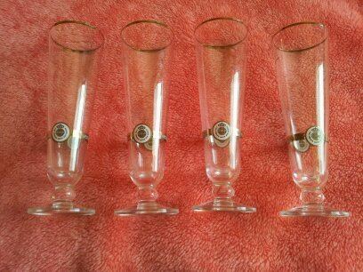 - Warsteiner 0.2L Gold Rimmed Footed Beer Glasses - Set of 4
