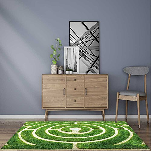 (Home Area Rug Chartres Circular Labyrinth in a Garden for Living Room 5' X 7')