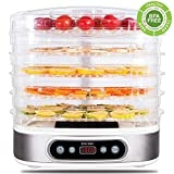 ZOCIKO Food Dehydrator Machine 6 Stainless Steel Trays, Jerky Snack Maker, Food Fruit Vegetable Dryer, Electric Food Preserver, Digital Time Temperature Control, Fruit Roll Sheet & Fine-mesh Sheet