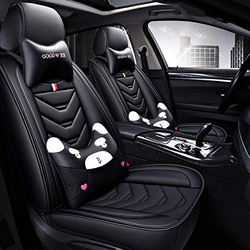 Lykaci Car Seat Covers Set Leather, Universal 5 Seats Seat Cushions for the front seats and rear seat Seats (Color : Black):
