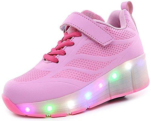ECOTISH Kinder Jungen Mädchen LED Leuchtet Sneakers mit Einem Cooly Roller Skateboard Schuhe Sport Turnschuhe Damen Herren Weihnachtsgeschenk Rosa