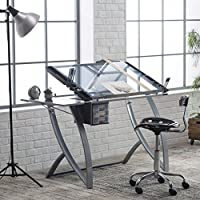 Practical Drafting Table, Movable Side Shelf, Advanced Look, Durable Steel Construction, Tempered Safety Glass Top, Top Angle Adjustment Up to 35 Degrees, Tracing Table