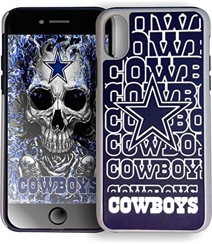 Forever Collectibles Dual Hybrid Impact Licensed Letters Compatible/Replacement Case for iPhoneX iPhone - NFL Dallas Cowboys