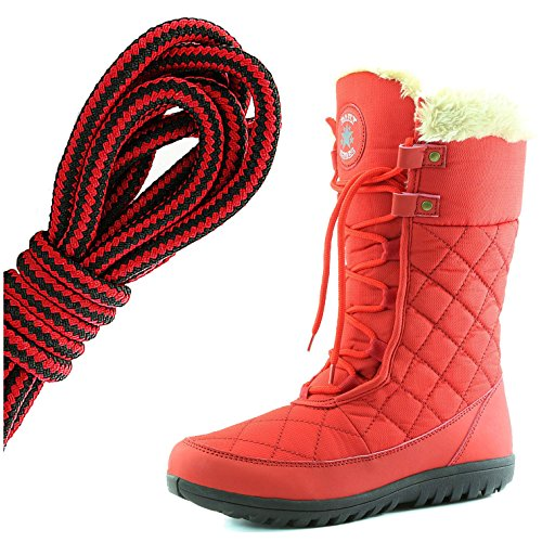 DailyShoes Womens Comfort Round Toe Mid Calf Flat Ankle High Eskimo Winter Fur Snow Boots, Black Red Red