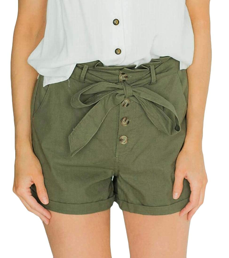 Sweatwater Women Rolled Cuff Button Up Pockets Casual Paper Bag Pleated Shorts