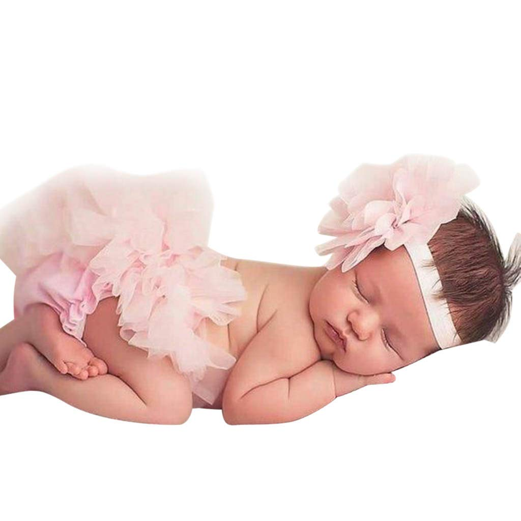 SSZZoo Newborn Kids Baby Girl Solid Color Bowknot Tulle Tutu Pants Skirts+Headband Outfits Clothes