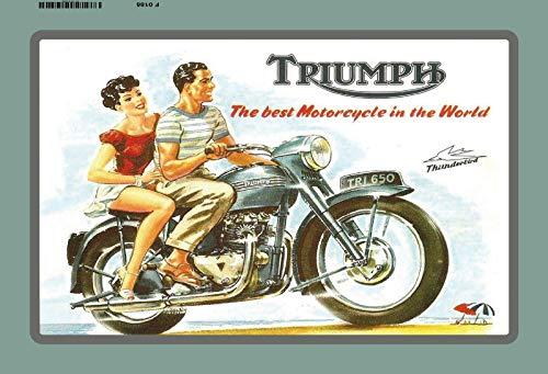 (Bidesign Triumph Motorcycle Tri 650 Thunderbird Metal Sign Signboard Tin Sign Custom Metal Sign 8X12in-Bar Cafe Restaurant Home Decor)