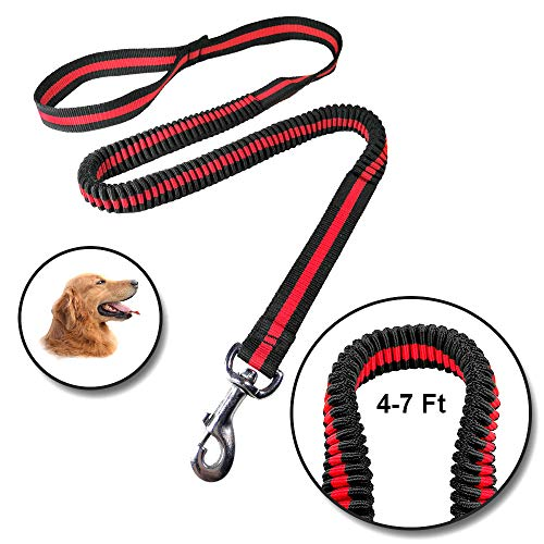 Dog Leash Bungee Flexible Elastic 4-7 Feet Durable for Medium and Large Dogs Perfect for Walking, Jogging, Running ()